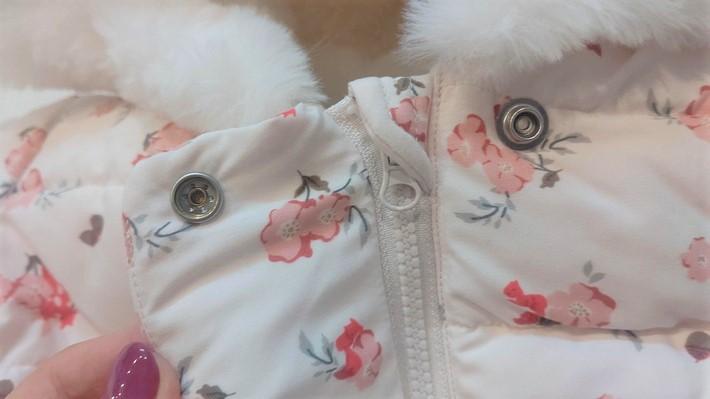 プチバトー 中綿入りジャケット 花柄プリント